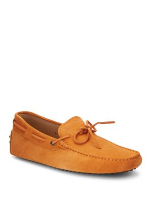 Tod's Suede Tie Moccasins In Medium Orange