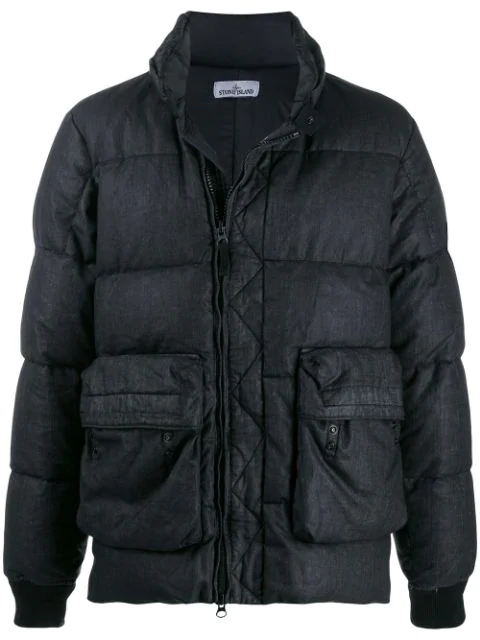 Stone Island Quilted Down Jacket In V0029 Black