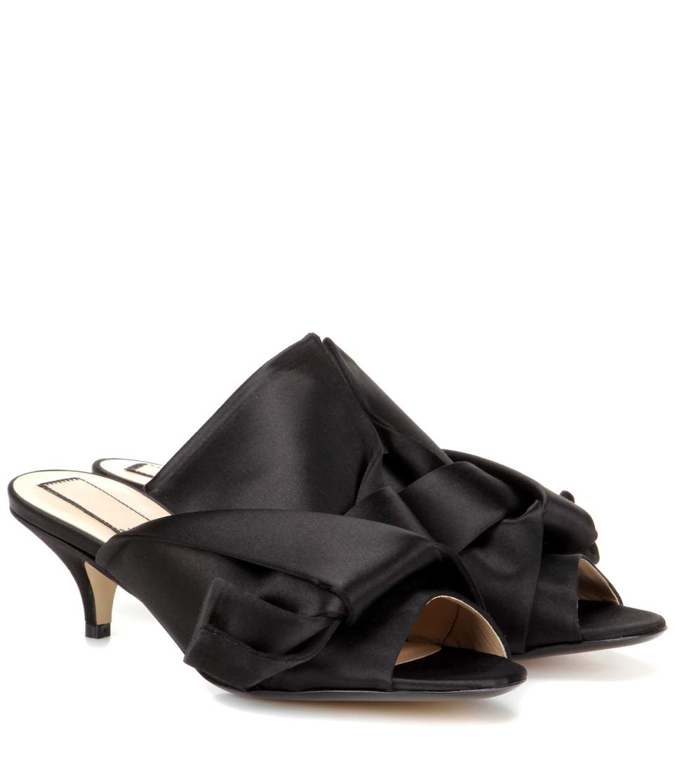 N°21 50mm Bow Silk Blend Satin Mules, Black In Eero