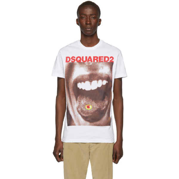 Dsquared2 Printed Cotton Jersey T-Shirt In 100 White