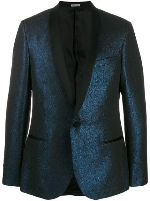 Lanvin Metallic-Effect Blazer Jacket In 20 Blue
