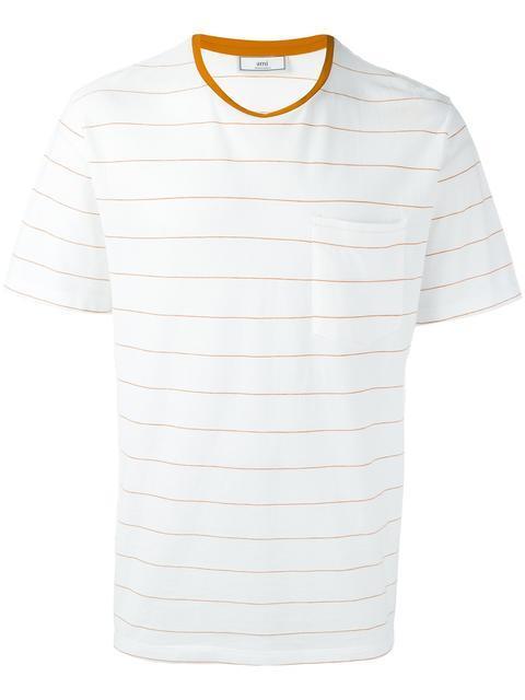 Ami Alexandre Mattiussi Chest Pocket Striped T-shirt In White