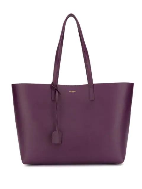 Saint Laurent Top Handles Leather Tote In Purple