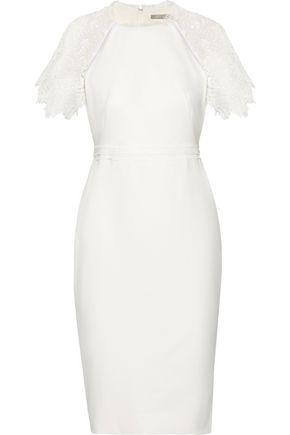 Lela Rose Woman Guipure Lace-trimmed Crepe Dress White