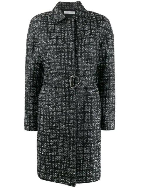 Philosophy Di Lorenzo Serafini Check Pattern Single Breasted Coat In Black