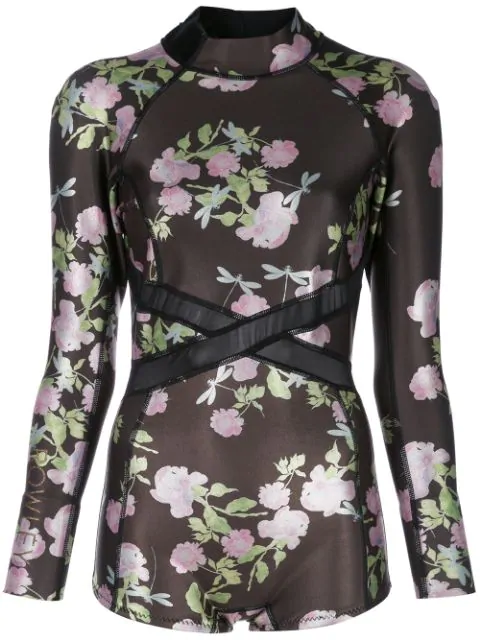 Cynthia Rowley Neoprenanzug Mit Rosen In Black