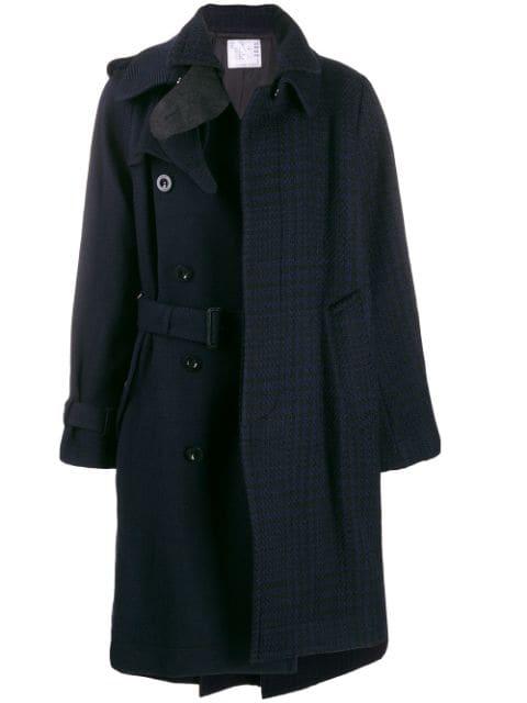 Sacai Asymmetric Trench Coat In 005 Blu+black
