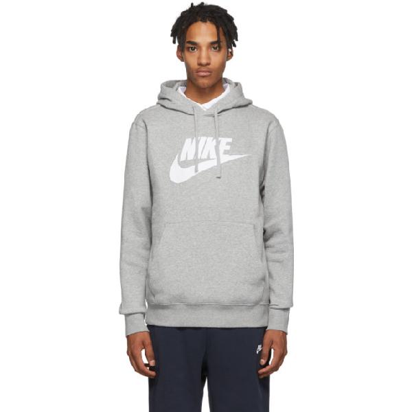 Nike Grey Fleece Sportswear Club Hoodie In 063dkgryhsl