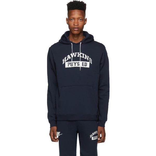 Nike Navy Stranger Things Edition Hawkins High Hoodie In 419college