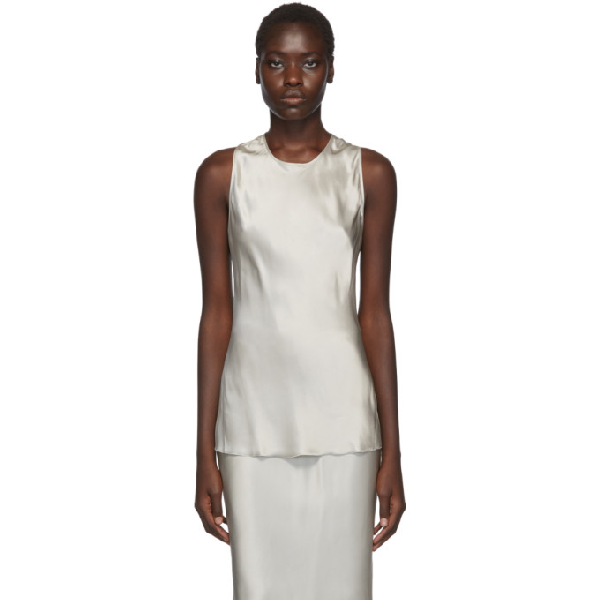 Helmut Lang Taupe Back Twist Camisole In Cement