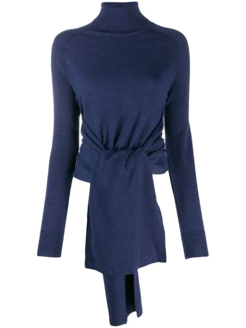 Jw Anderson Roll Neck Jumper With Front Ties In Blue