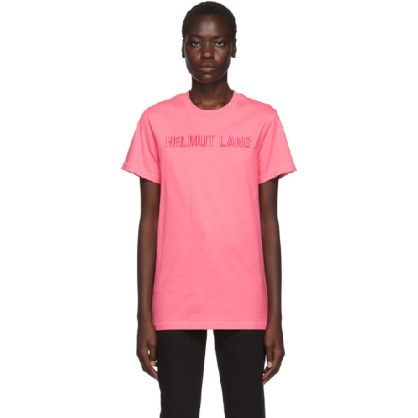 Helmut Lang Embroidered Logo T-Shirt In Pink