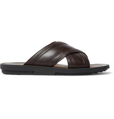 Tod's Crisscross Leather Slides In Brown