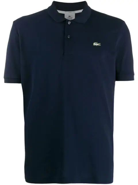 Lacoste Logo Embroidered Polo Shirt In Blue