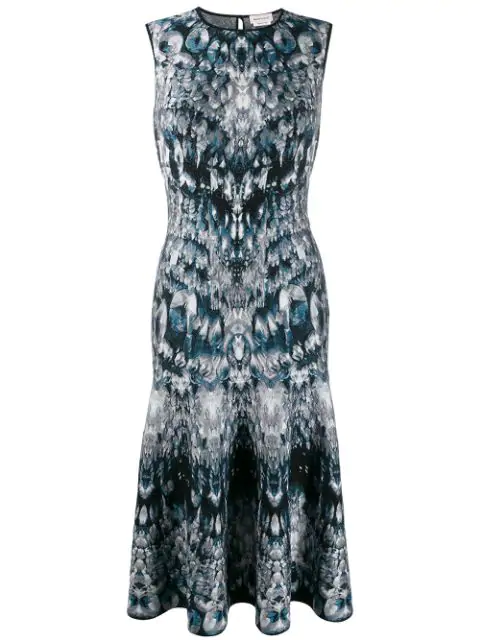 Alexander Mcqueen Intarsia Knit Dress In 4034