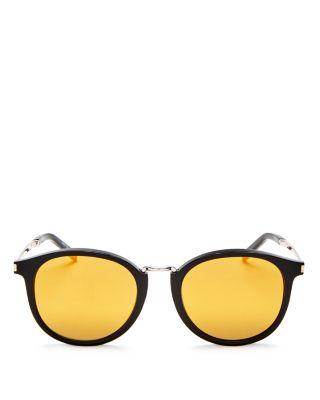 Saint Laurent Classic Mirrored Round Sunglasses, 49mm In Black