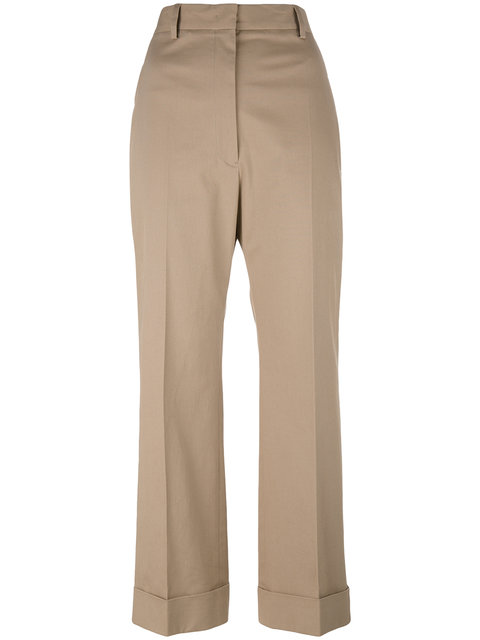 Jil Sander Cropped Tailored Trousers In Neutrals