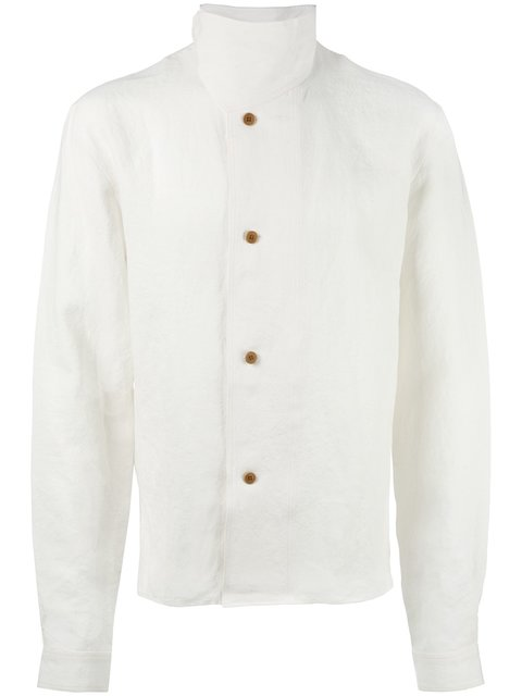 Jw Anderson Standing Collar Buttoned Jacket In White