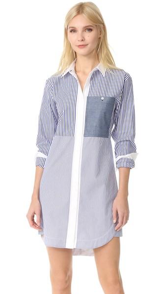 19b26119d4f9a3 Elizabeth And James Woman Jay Striped Cotton-Poplin Mini Shirt Dress Blue  In Multi