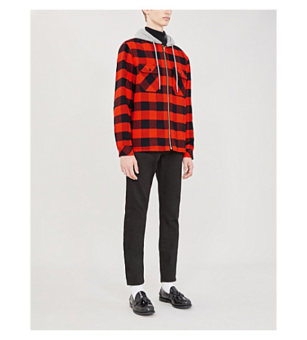 Sandro Checked Cotton-Flannel And Cotton-Jersey Overshirt In Orange