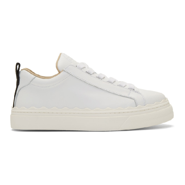 ChloÉ Lauren Scallop-edge Leather Trainers In 101 White