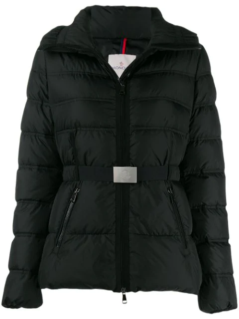 Moncler Alouette High-Collar Belted Down Coat In Black