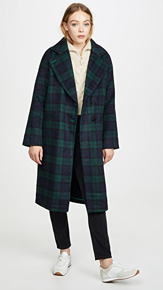Avec Les Filles Double Face Plaid Raglan-sleeve Coat In Navy/ Green