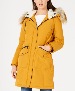 French Connection Hooded Faux-fur-trim Down Parka, Created For Macy's In Dijon Yellow