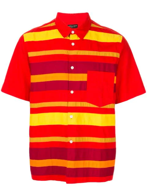Pre-owned Comme Des Garçons Striped Button-front Shirt In Red