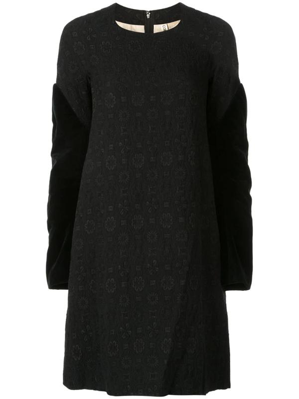 Pre-owned Comme Des Garçons Velvet Sleeves Jacquard Dress In Black