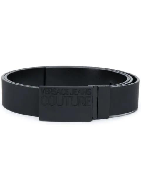 Versace Jeans Logo Buckle Belt In Black