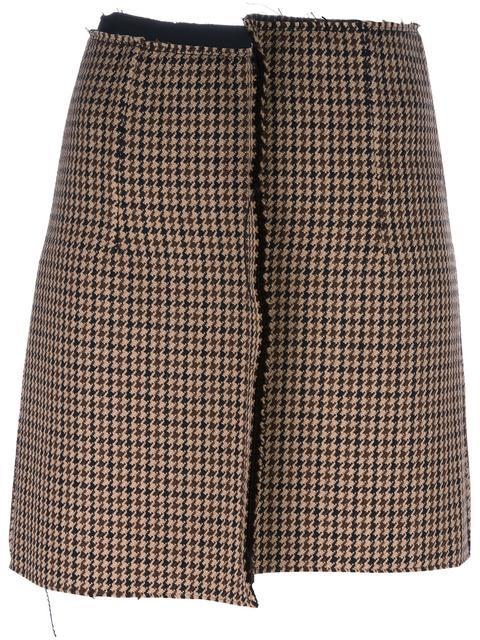Yang Li Pied-de-poule Mismatched Mini Skirt In Beige