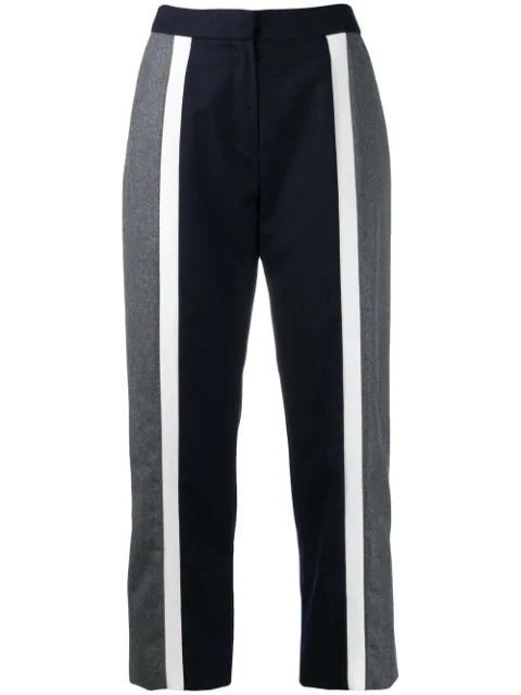 Kenzo Flared Cropped Trousers In 77 Midnight Blue