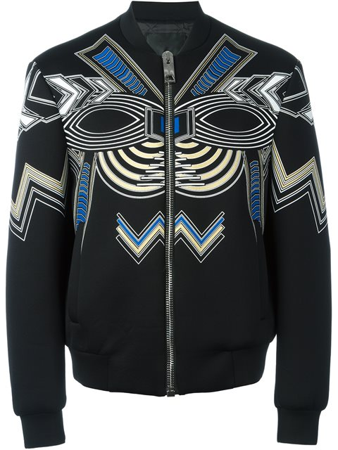 Les Hommes Printed Bomber Jacket In Black