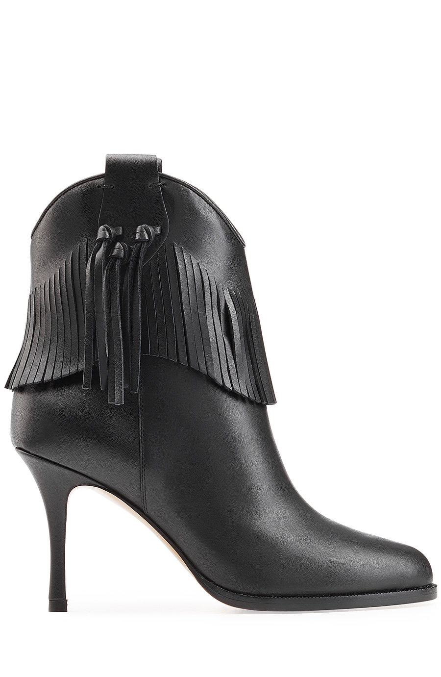Valentino Leather Boots With Fringe In Black