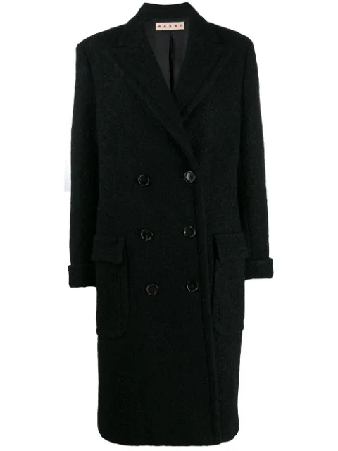 Marni Textured Double Breasted Coat In Black