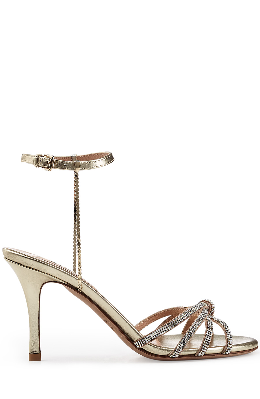 Valentino Embellished Leather Sandals In Gold