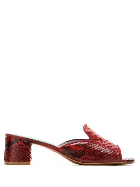 Blue Bird Shoes Python Mules In Red