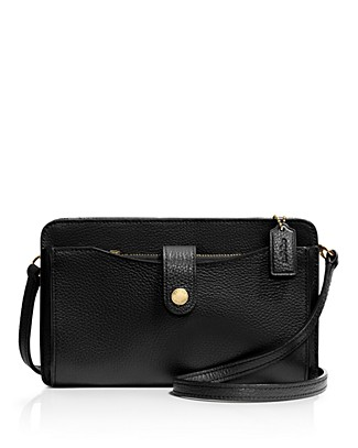 Coach Up Pouch In Pebble Leather In Black/Light Gold