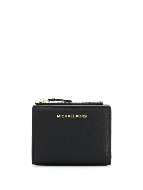 Michael Michael Kors Logo Plaque Card Case In 001 Black