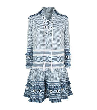 Dodo Bar Or Gadielle Tassel-embellished Cotton Dress In Blue White
