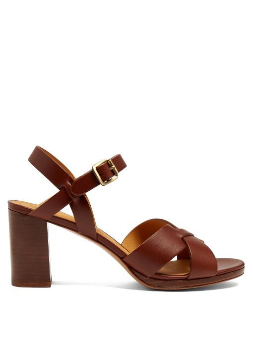 A.p.c. OpÉra Block-heel Leather Sandals In Chestnut-brown