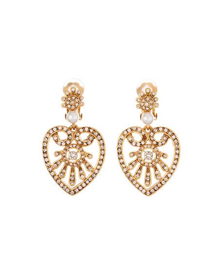 Oscar De La Renta Pearly Crystal Heart-Drop Earrings In Gray
