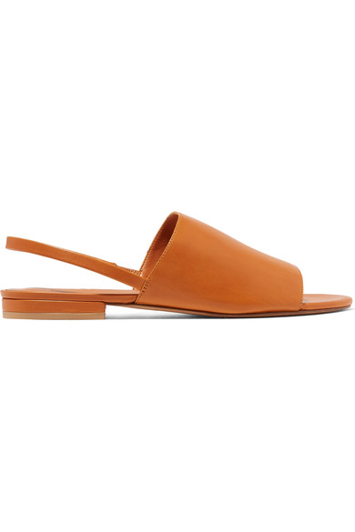 ced647dd337 Vince Dawson Leather Flat Slingback Slides In Caramel