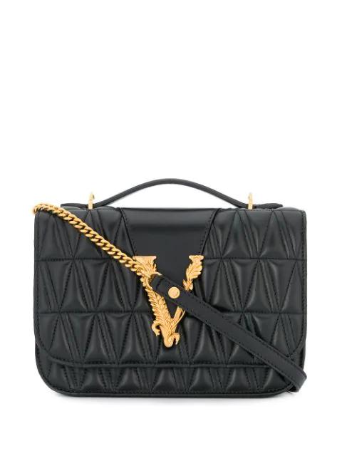 Versace Virtus Quilted Leather Shoulder Bag In Black
