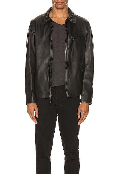 Schott Collar Lamb Leather Jacket In Black