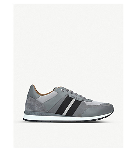 Bally Aseo Leather And Mesh Low-Top Trainers In Grey Mixed
