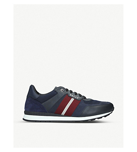 Bally Aseo Leather And Mesh Low-Top Trainers In Blue/Drk.C