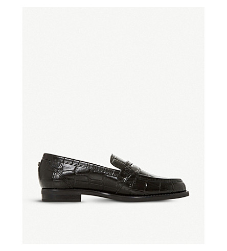 Dune Grady Crocodile-Embossed Leather Loafers In Black-Rept Print Leather
