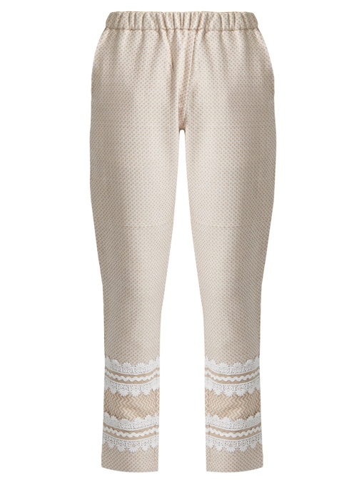 Dodo Bar Or Isasshar Lace-embellished Cotton Trousers In White Multi